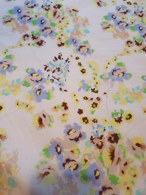 Cream Multicolour Floral Organza (Remnant Piece) - 7.5 metres