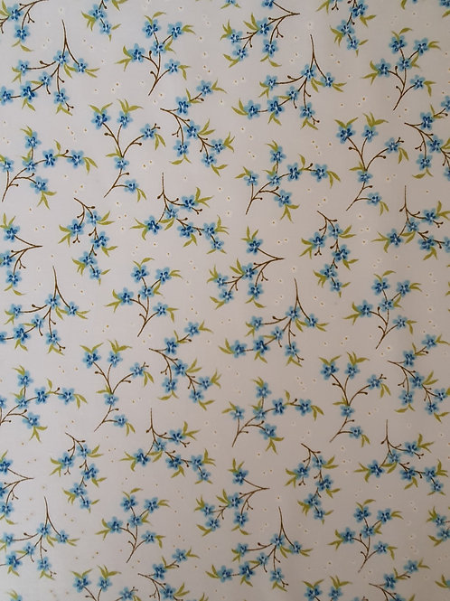 Cherry Blossom Mini Flowers Polycotton - White & Blue
