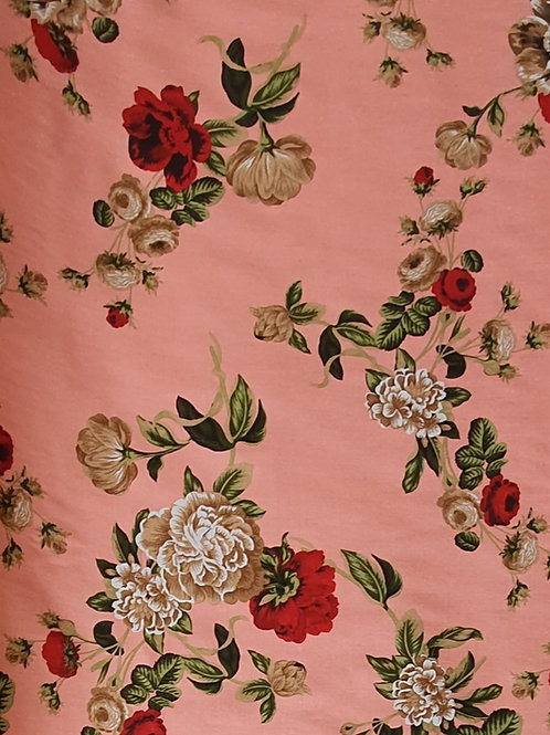 Dark Peach Floral Viscose