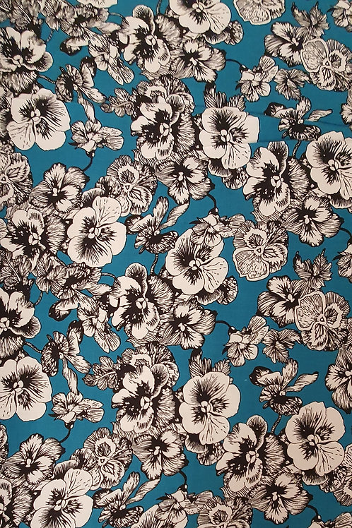Teal Viscose and White Flowers