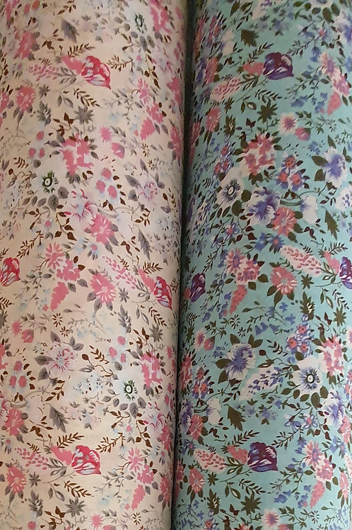 Busy Floral Printed Polycotton - Turquoise & Cream