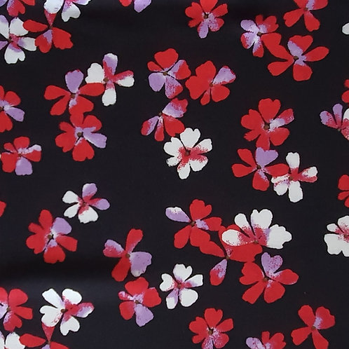 Clover Floral 100% Viscose in Blue & Pink - NEW