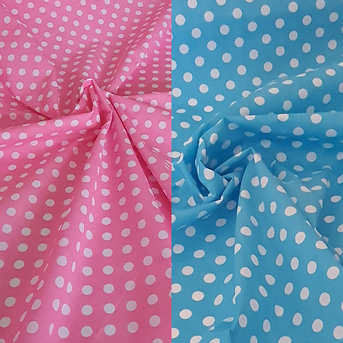 Polka Dot Polycotton in Turquoise & Pink - NEW