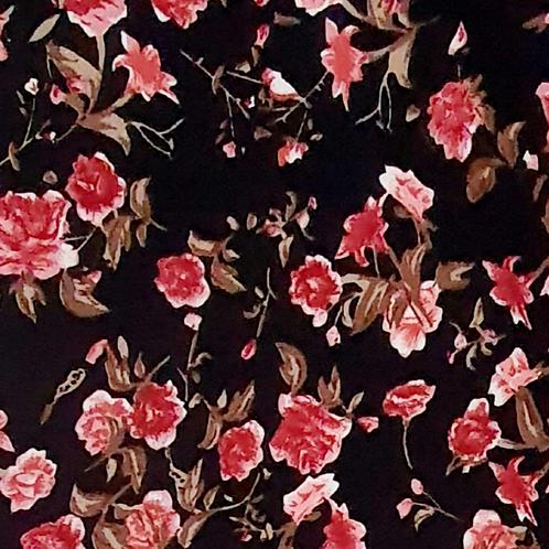 Medium Floral Printed Crepe