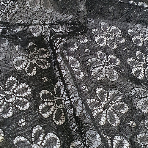 Floral Acrylic Lace - Black