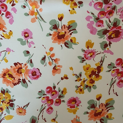 Summer Mix White Floral 100% Viscose - NEW