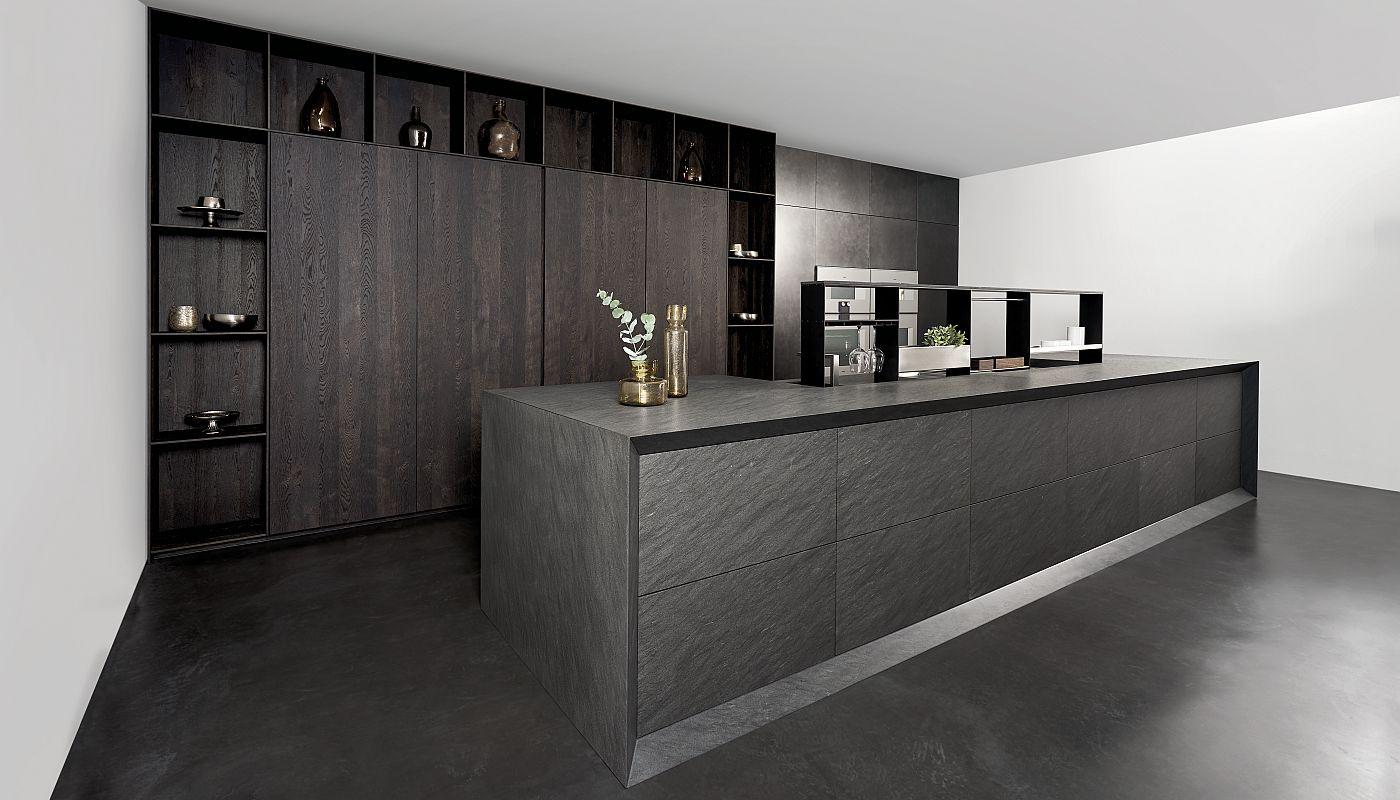 Quatzite Carbono, steelgrey Effect lacquer, brushed oak veneer dark brown