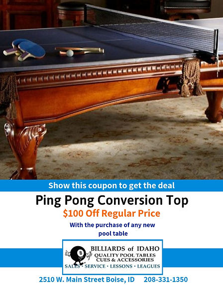 $100 Off Ping Pong Conversion Top