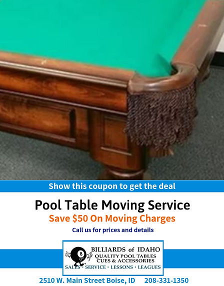 $50 Off Pool Table Moving Service