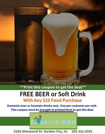 Free Beer or Soft Drink