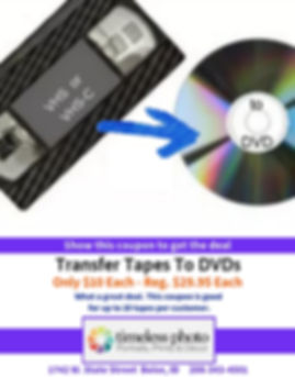 Transfer Tapes to DVDs - Only $10