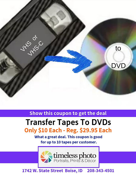 Transfer Tapes to DVDs - $10 Each