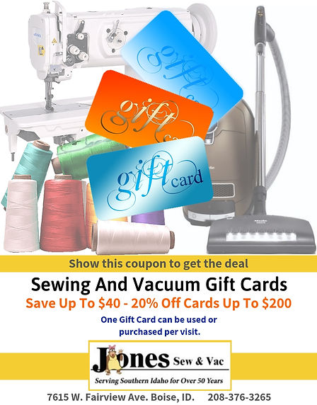 20% Off Sewing andVacuum Gift Cards