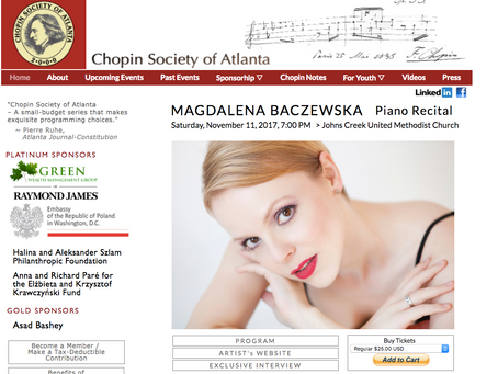 Magdalena Baczewska Atlanta Recital Alert