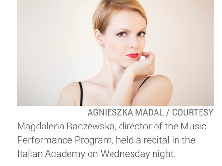 Magdalena Baczewska featured in a Columbia Daily Spectator Article