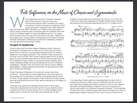 Magdalena Baczewska's Article Published in Polonaise Magazine of the Chopin Foundation of the U.