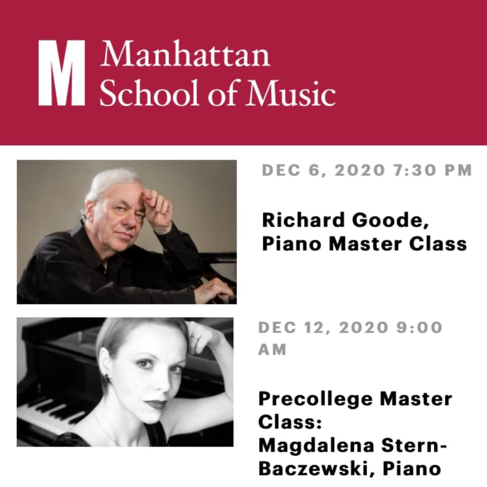 Magdalena Baczewska will give a masterclass to the young pianists at Manhattan School of Music Precollege on Saturday, Dec. 12th.