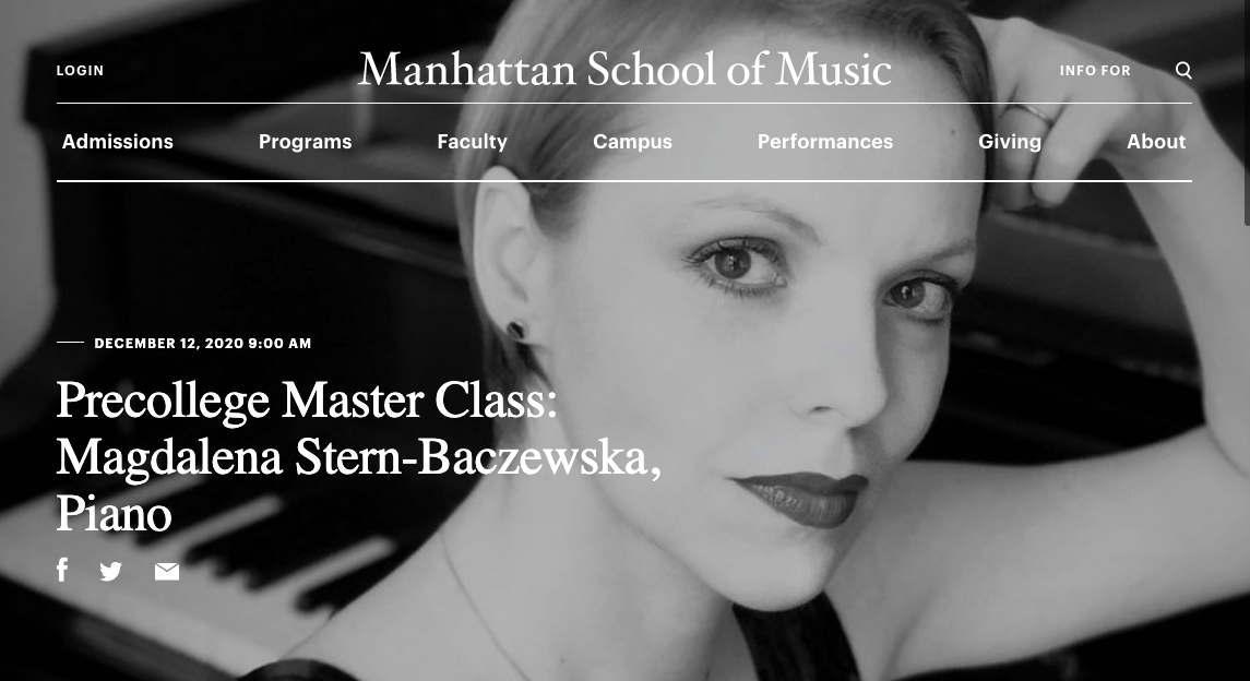 Magdalena Baczewska masterclass at Manhattan School of Music