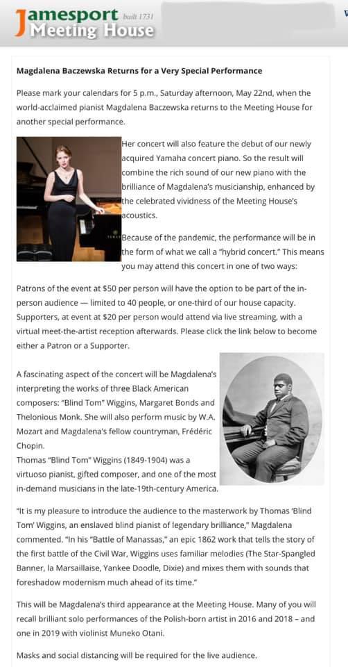 Magdalena Baczewska performs music of Black composers at the historic Jamesport Meeting House