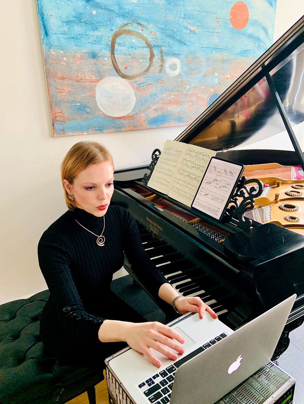 """Magdalena Baczewska presented """"Claude Debussy's Many Worlds of Sound,"""" a performance-talk to the Music Educators Association"""