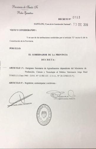 DESIGNACIÓN DEL DR. JORGE TORELLI
