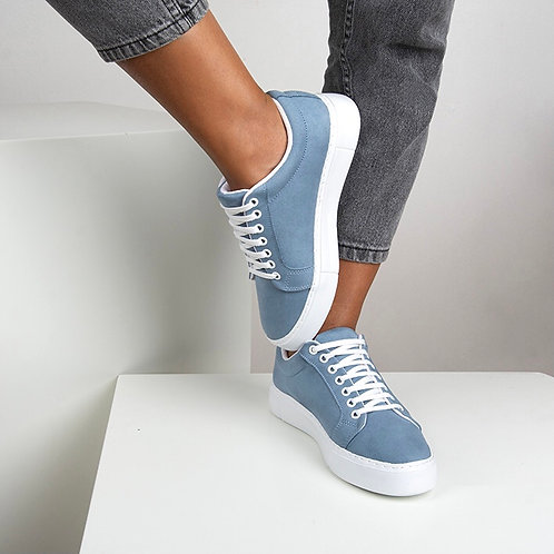 Kadın Mavi Süet Bağcıklı Günlük Sneaker Spor Ayakkabı