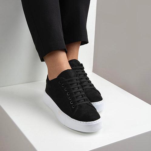 Kadın Siyah Süet Bağcıklı Günlük Ayakkabı