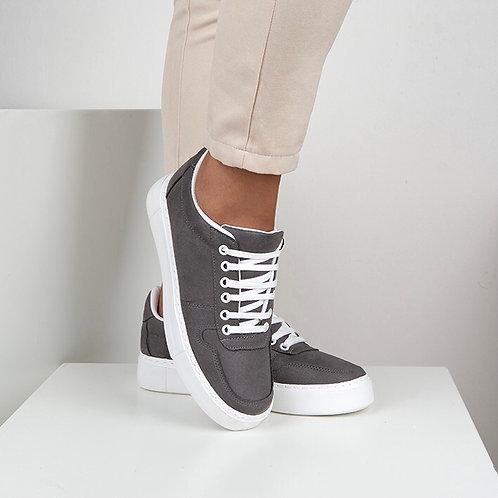 Gri Süet Bağcıklı Günlük Sneaker Spor Ayakkabı