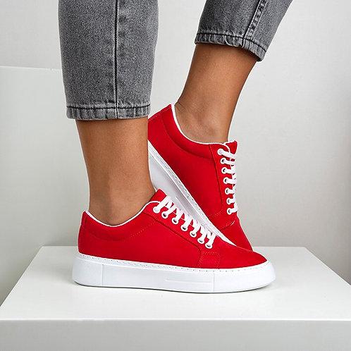 Kadın Kırmızı Süet Bağcıklı Günlük Sneaker Ayakkabı