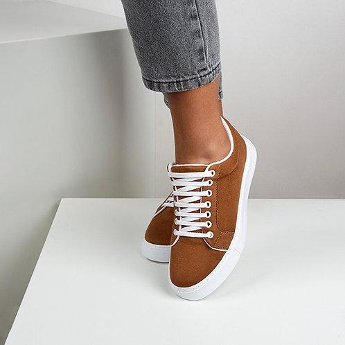Kadın Taba Süet Bağcıklı Günlük Sneaker Spor Ayakkabı