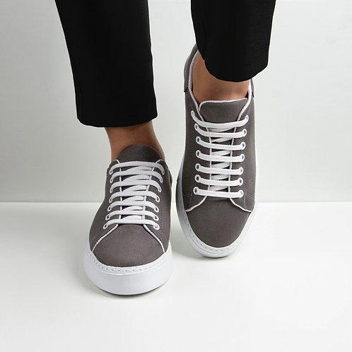 Kadın Gri Süet Bağcıklı Günlük Ayakkabı