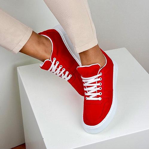 Kırmızı Süet Bağcıklı Günlük Sneaker Spor Ayakkabı