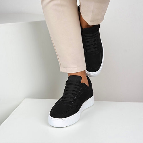 Siyah Süet Bağcıklı Günlük Sneaker Spor Ayakkabı