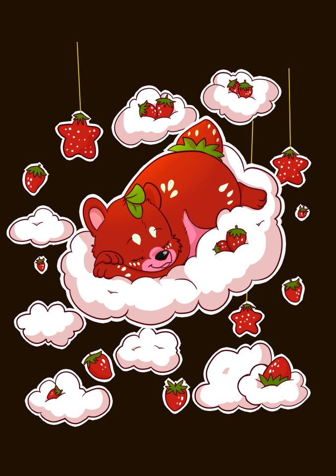 Strawbeary tshirt design