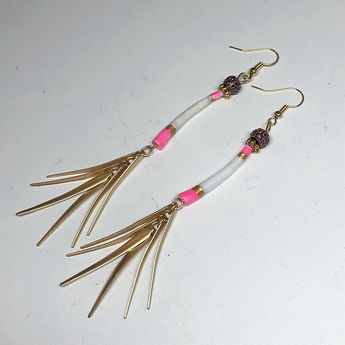 Hot Pink Dentallium Dangles