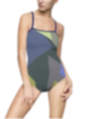 Get Ready for the Beach! Funk One Piece Swimsuit by Siri Skogstad with geometric motive. https://www.siriskogstad.com