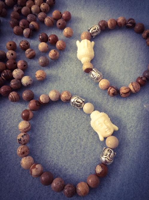 Brown Jade 3 Buddha Bracelets