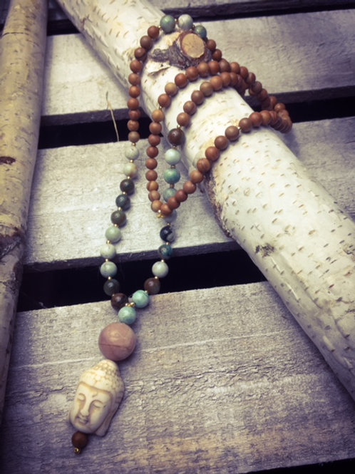 Ahimsa 108 Mala (Petrified Wood)