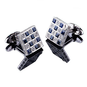 REVERSIBLE CUFFLINKS SAPPHIRES SQUARE