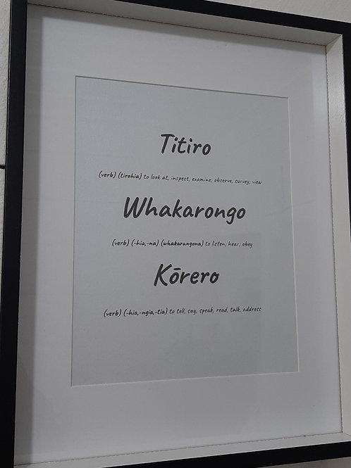 Titiro, Whakarongo, Kōrero