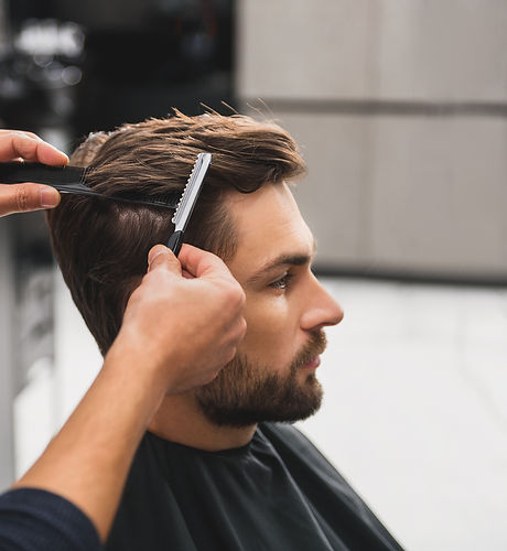 Male client getting haircut by hairdresser.jpg