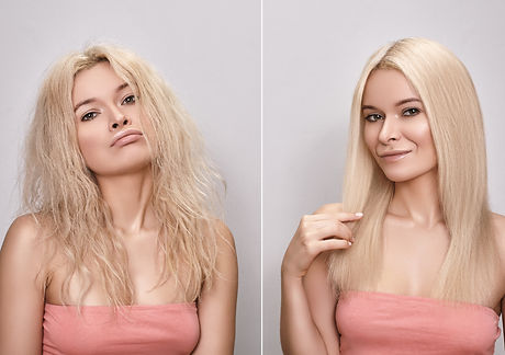 Beautiful woman before and after Hairstyle. Funny portrait with pout face and happy face.