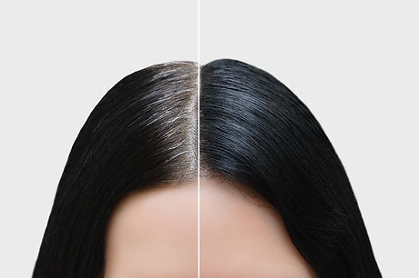Head of a girl with black gray hair. Hair coloring. Before and after. Close-up..jpg
