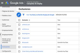 excluir emplazamientos irrelevantes google ads
