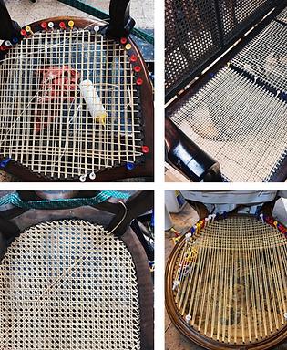 sillas de rejilla restauradas