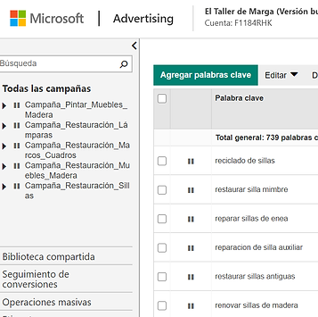pausar palabras clave bing ads