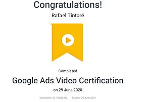 certificado oficial de video google ads