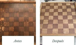 restaración de tabla de ajedrez de madera