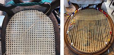 silla de rejilla restaurada