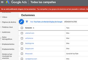 excluir emplazamientos google ads